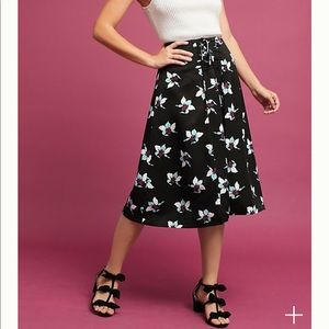 Anthropologie Maeve Zadie lace-up midi flare skirt